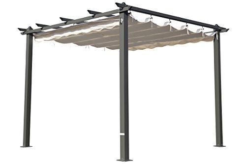 OUTFLEXX Pergola aus Grauem Aluminium, cremeweiß, 300 x 300 x 20 cm - 2
