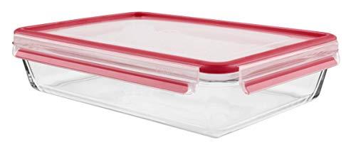 Emsa 513922 Frischhaltedose mit Deckel, Glas, Rechteckig, Volumen 3 Liter, Transparent/Rot, Clip & Close