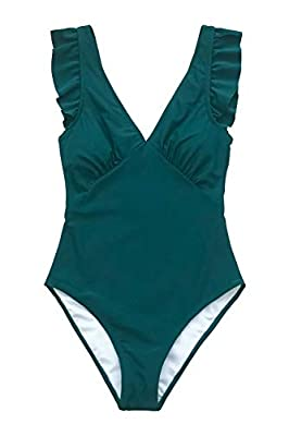 CUPSHE Women's Royal Elegance V Neck Falbala Shoulders One Piece Swimsuit, M Army Green