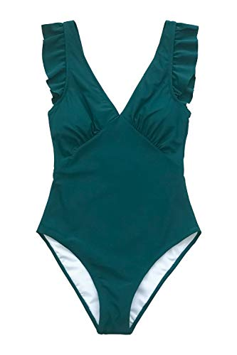CUPSHE Women's One Piece Swimsuit V Neck Ruched Ruffle Shoulder Swimwear Bathing Suits Army Green L