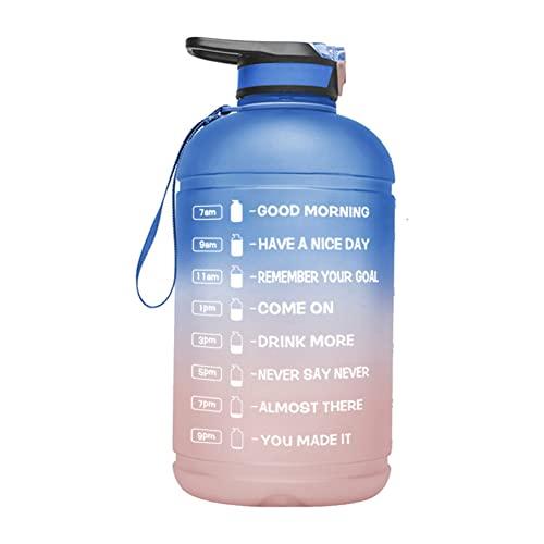 Borraccia da 1 gallone, bottiglia d'acqua motivazionale da 3628,7 g, con indicatore del tempo e paglia, grande brocca d'acqua, portatile, con manico, per campeggio, sport e allenamenti sportivi
