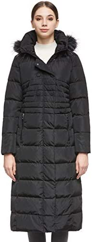 Women s Long Puffer Down Coat Warm Maxi Jacket with Hood Black product image