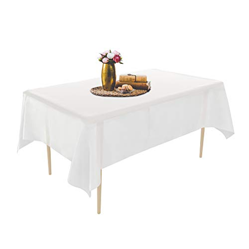 Puricon [6 Stücke] Einweg Tischdecke aus Kunststoff 1,37 x 2,74 M, Premium Rechteckige Tischabdeckung Gartentischdecke für Gastronomie, Feste, Party, Hochzeiten oder Haushalt -Weiß