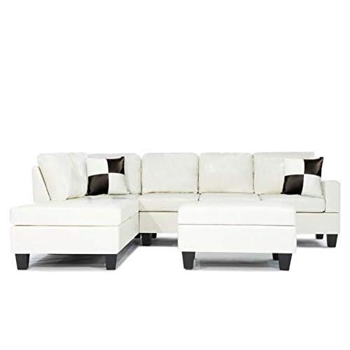 Wondrous White Sectional Amazon Com Pabps2019 Chair Design Images Pabps2019Com