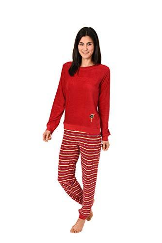 Damen Frottee Pyjama mit Rundhals, Uni, Ringel Hose, Rot, 61771, Gr. XL 48/50