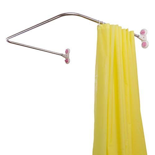 Hershii Curved Corner Shower Curtain Rod Wall Mounted U-Shaped Bathroom Curtain Hanger Pole...