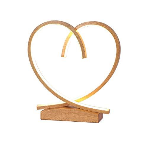 SPNEC Lámpara de Mesa, en Forma de corazón Creativo Dormitorio de la lámpara de la lámpara de Mesa de Madera lámpara de cabecera nórdica Creativa Moderna Minimalista decoración de la Boda