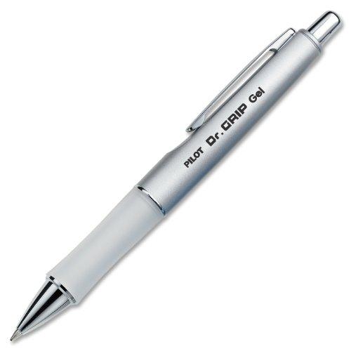 PILOT Dr. Grip Limited Refillable & Retractable Gel Ink Rolling Ball Pen, Fine Point, Metallic Platinum Barrel, Black Ink, Single Pen (36272)