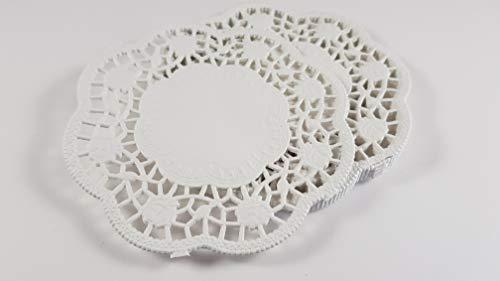 gastro 100 Stück Deko Tortenspitzen Rund Weiß Papier Durchmesser: 10 cm