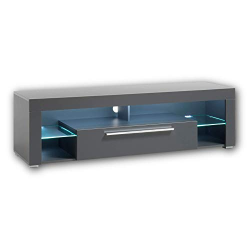 GOAL TV-Lowboard in Matt Grau mit LED-Beleuchtung - hochwertiges TV-Board mit viel Stauraum für Ihr Wohnzimmer - 153 x 44 x 44 cm (B/H/T)