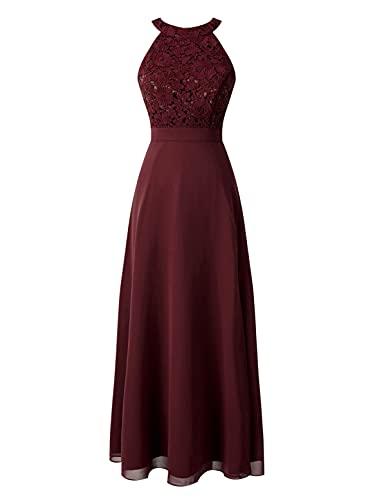 dPois Vestido de Fiesta Mujeres Vestido Cóctel sin Mangas Vestido Largo de Gasa Chicas Vestido de Ceremonia Ropa Vestido de Noche Traje Elegante de Gala Vino Rojo 10