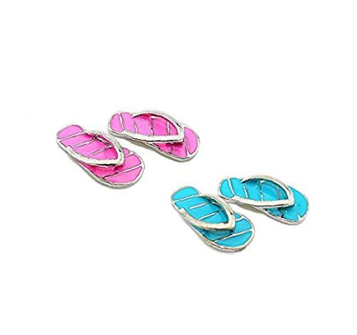 Zonfer 2 Paare Mini Puppenstuben Miniatur Strand Flip Flops 01.12 Fairy Garden Gestreifte Slipper Legierung Mädchen Puppenhaus Dekoration