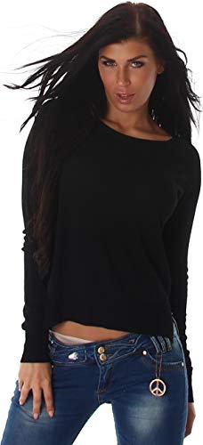 Jela London Damen Vokuhila Pullover Beinschlitz Sweatshirt einfarbig, Schwarz 36-38
