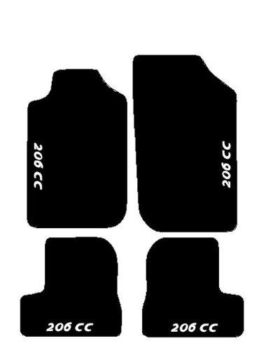 SonCar Fußmatten für Peugeot 206CC, Komplettset von passgenaue Fußmatten aus Teppich schwarz mit Stickerei Bianco