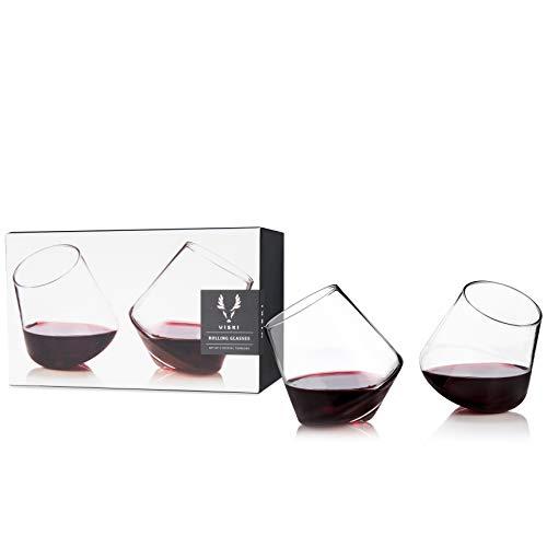 Viski Rolling Crystal Wine Glasses Set of 2, No-Lead Premium Crystal Clear Glass, Modern Stemless, Wine Glass Gift Set, 12oz
