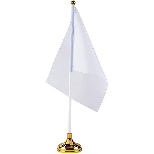 Banderas de Escritorio Blancas, con Soporte, Banderas para Manualidades (21 cm x 14 cm, Paquete de 24)