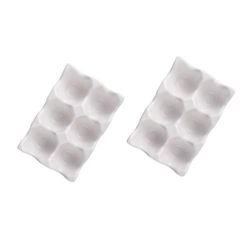 Hershuing 2 soportes para huevos de cerámica, 6 tazas de huevos de gallina, organizador de almacenamiento de huevos para mostrador de encimera de refrigerador, color blanco
