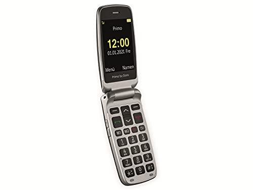 Primo 418 by Doro Graphit GSM Großtasten Mobiltelefon mit froßem Farbdisplay, Fallsensor, Taschenlampe, FM-Radio, Kalender, inkl. Tischladestation Graphit