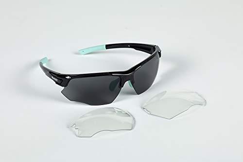 Bianchi - FALCO X Brille schwarz/hellblau mit getönten Gläsern Cat.3 + Ersatzgläser Cat.0 C9350192
