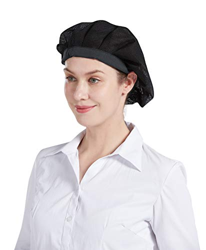 Nanxson Unisex 3 Stück Kochmütze Arbeitsmütze elastich Mesh Staubmütze Haarnetz Industrie Werkstatt Hut CF9060 (Schwarz, eine Size)