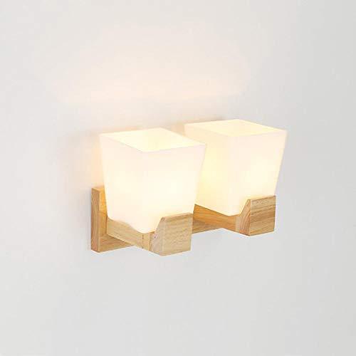 ZHAOHUIYING 1 wandlamp industriële lamp van glas met facetten Moderne verlichting Up/Down bedlampje LED warm eenvoudig IKEA massief hout dubbele kop hal Allee