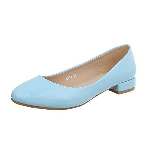Ital-Design Klassische Ballerinas Damen-Schuhe Blockabsatz Hellblau, Gr 38, 8873-