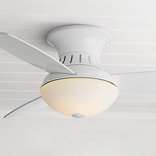 """44"""" Encore Modern Contemporary Low Profile Hugger Indoor Ceiling Fan with Light LED Remote Control Dimmable White Frosted Glass for House Bedroom Living Room Home Kitchen Family - Possini Euro Design"""