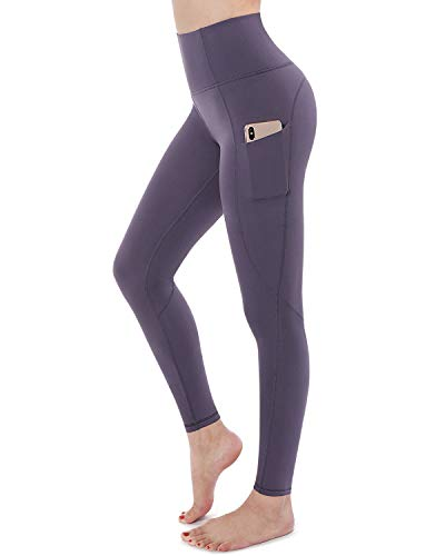 STYLEWORD Womens Yoga Pants with Pockets High Waist Workout Leggings Running Pants(Purple Grey-018B,M)
