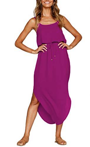 NERLEROLIAN Women's Adjustable Strappy Split Summer Beach Casual Midi Dress (Rose Purple, Medium)