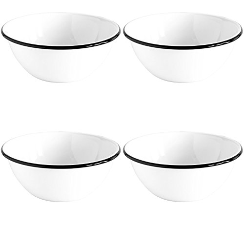 Crow Canyon Enamelware Round Salad Soup Serving Bowl, Classic Tableware - Set of 4 - White Body with Black Rim, 8.5 Inches