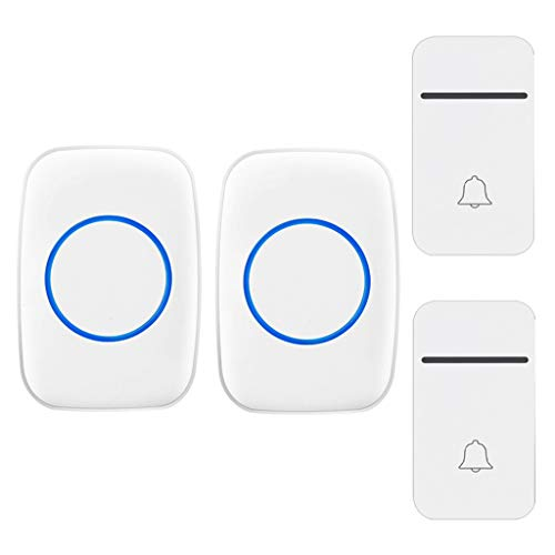 GOODLUKE Self-Powered Wireless Doorbell, Doorbell with 200M Range, 38 Chimes, 3 Adjustable Volume Levels, 2 Doorbell Button 2 Plug in Receivers, Best for Home/Hospital/Office,White