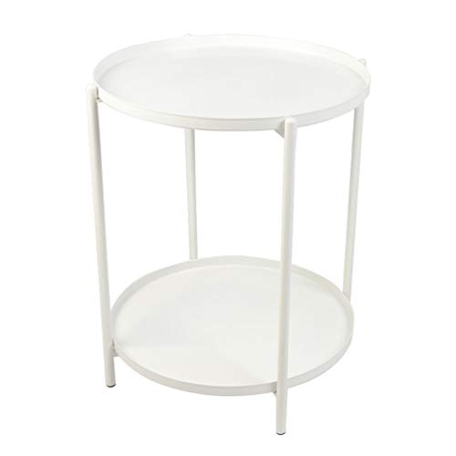 H JINHUI Round Metal Side Table End Table with Double Tier,Removable Tray,Sofa Side Snack Table Nightstand,Outdoor & Indoor Drink Snack Coffee Table,Anti-Rust and Waterproof (white)