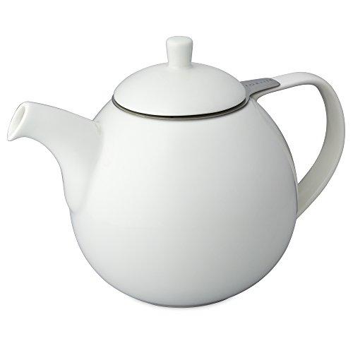 FORLIFE Curve Teekanne mit Teesieb, 1,3 l, Weiß