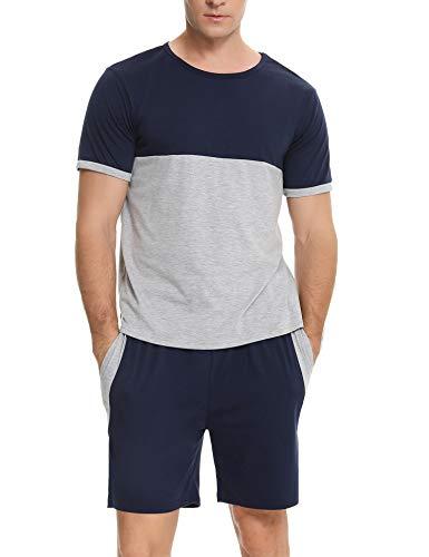 Sykooria Conjunto de Pijama para Hombre, Ropa de Dormir de Manga Corta, Pijama de algodón, Parte Superior y Cintura elástica, Parte Inferior Corta, Suave y Ligera, salón