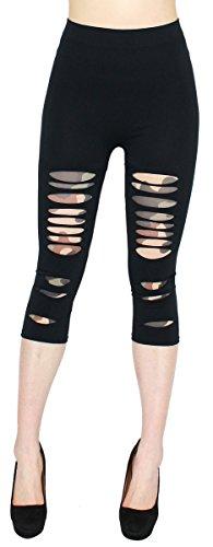 dy_mode Damen Capri Leggings Leggins in Destroyed Optik - Kurze 3/4 Leggings Damen - CLG13 (3LG116-Army)