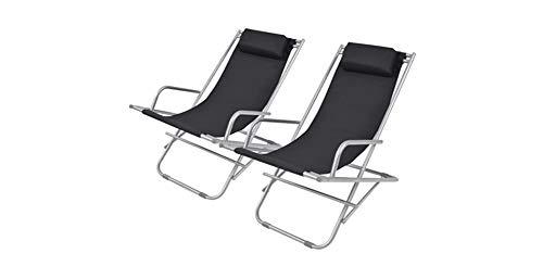 Tumbona plegable al aire libre, 2 sillas balancín tumbona de jardín plegable y abatible, se puede usar al aire libre, jardín, patio interior 69 x 61 x 94 cm, color negro