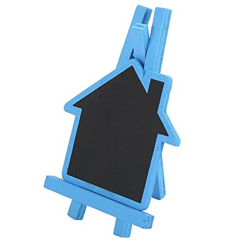 Gedourain Etiqueta de Planta de Pizarra Decoración de jardín Forma de casa Planta Pizarra 12 Piezas Mini Tablero de Mensajes para Boda de Navidad(Blue House)