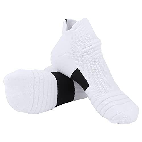 Pwshymi Calcetines Deportivos para Hombre Calcetines de Tobillo Transpirables de algodón Peinado Calcetines Gruesos para Correr Calcetines de absorción de Impactos Calcetines Bajos (Blanco Negro)