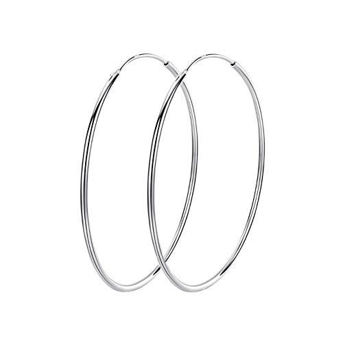 Pendientes de aro grandes de plata de ley 925 con círculo infinito, para mujeres y niñas, 80 mm
