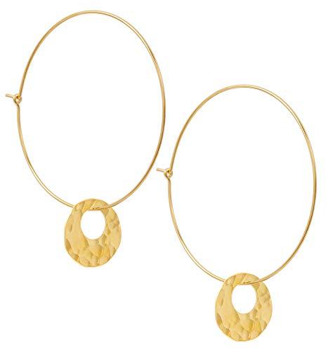 Charlotte Wooning Ohrring Damen Gold Bubbles Hoop große Creolen rundes gehämmertes Plättchen Ohrhänger 925 Silber vergoldet 4 cm Durchmesser WOO-BUHg