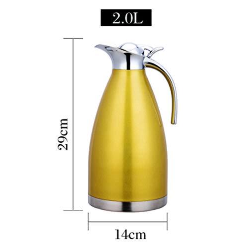 lunch box 1,5L-2L Edelstahl Thermoskanne,Teekanne, Kaffeekanne, und Isolierkanne mit 12 Stunden Wärmespeicherung – doppelwandige Vakuum Tee und Kaffee Thermokanne,Gelb,1.5L