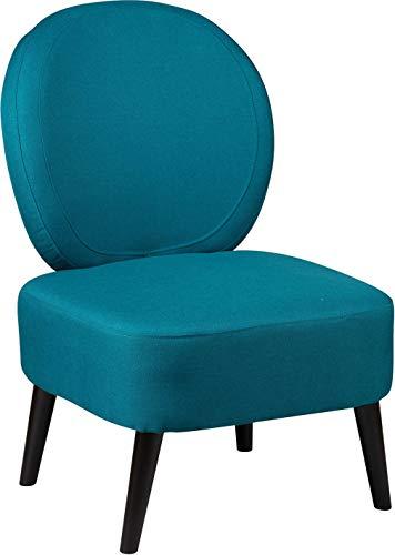 Destock Meubles - Poltrona in tessuto, con schienale rotondo, colore: Blu corallo