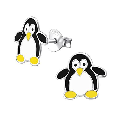 Princess Penguin Stud Earrings - 925 Silver E-Coating - Animal - 11 x 11 mm