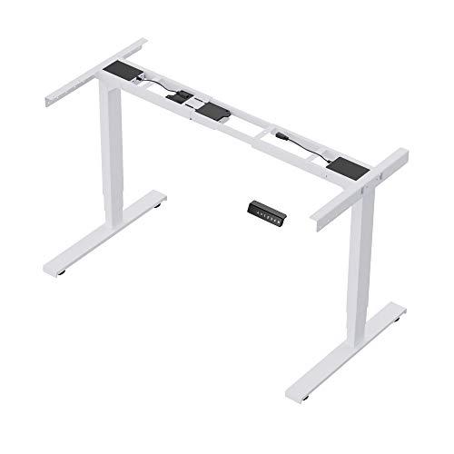 ERGOSPOT ES1 EVO - Elektrisch stufenlos höhenverstellbarer Schreibtisch mit Memory-Funktion sowie einstellbaren Kollisionsschutz und Soft-Start/Stop 130kg belastbar (Weiß Ral9016)