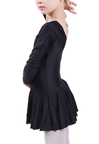Happy Cherry Child Girls Sports Ballet Dancewear Dress Long Sleeve Leotard Gymnastics Fitness Dance Skirt Black XXXL