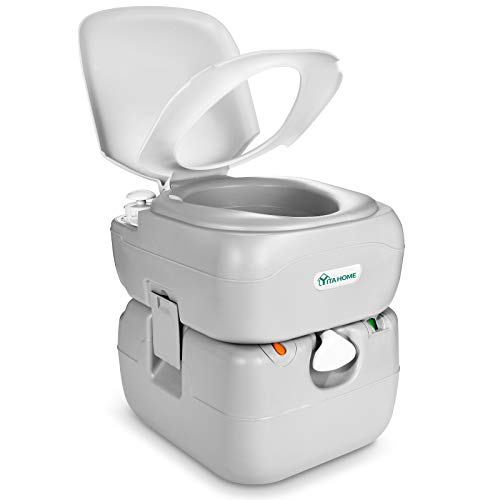 YITAHOME Portable Toilet 5.8 Gallon,Travel RV Potty with Level Indicator,T-Type Water Outlets,Anti-Leak Handle Water Pump,Rotating Spout,for Camping, Boating,Hiking,Trips