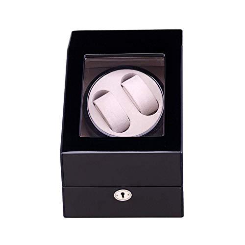 Enrollador doble para relojes 2 relojes Lacado para piano, enrollador para relojes automáticos 2 estuches para relojes Estuches para relojes Estuches para relojes Estuche para almacenamiento Negro