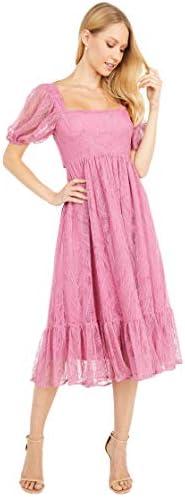 WAYF Lucca Midi Short Sleeve Gathered Dress Magenta Lace SM product image