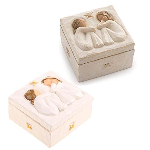 Caja de joyería para niñas, caja de resina de recuerdo pintada a mano con diseño de amistad