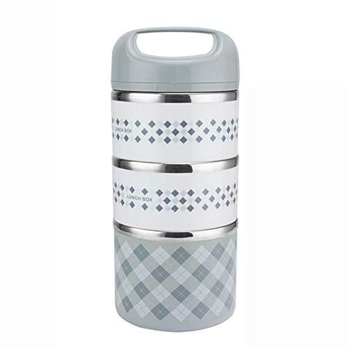 Ausomely Boite Repas Compatiment Boîte Repas Isotherme Étanche Hermetique en Plastique Acier Inoxydabler sans BPA Rond avec 1 2 3 Couches Réutilisable - Parfaite pour Enfant Bebe Adulte
